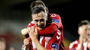 Aaron McEneff celebrates his second-half goal