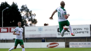 Stephen Dooley celebrates his goal at United Park