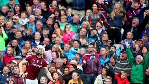 Joe Canning watches on as he hits the match-winning score against Tipperary