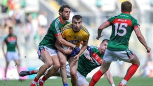 Mayo's Tom Parsons tackles Roscommon's Caoileann Fitzmaurice
