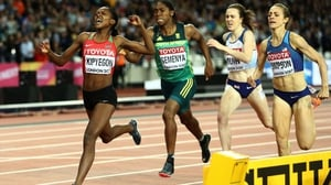 Faith Chepngetich Kipyegon of Kenya takes gold, Jennifer Simpson of the United States, silver, and Caster Semenya of South Africa, bronze in the women's 1500m final