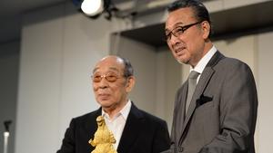 Haruo Nakajima (L) pictured with actor Akira Takarada in 2014