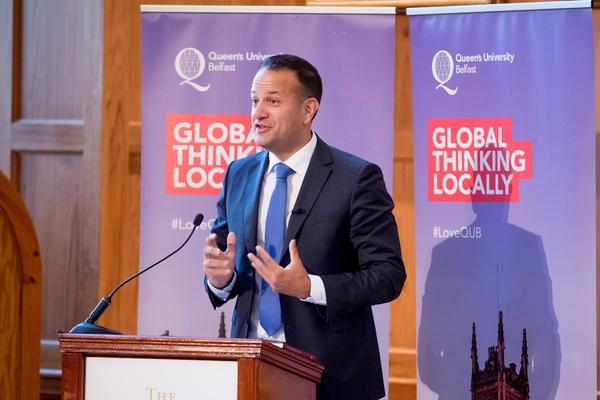Leo Varadkar speaking at Queen's University Belfast. Photo: Andrew Towe Photography/Queen's University Belfast