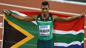 Wayde van Niekerk defended his title in 43.98 seconds