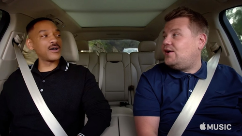 Will Smith takes a ride with James Corden