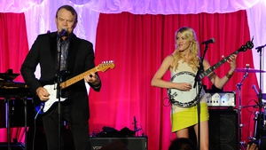 Glen Campbell and daughter Ashley onstage at Jane Seymour's Open Hearts Foundation Celebration in Malibu, California in April 2012