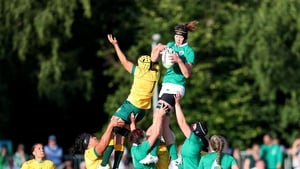 Ireland's Marie-Louise Reilly wins a line-out against Australia