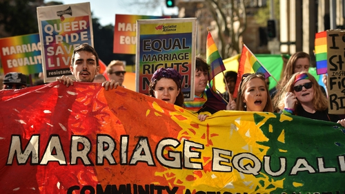 Supporters of same sex marriage marched in Sydney on 6 August