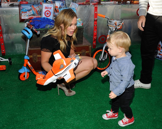 Hilary Duff and son Luca Cruz Comrie at the world-premiere of 'Disney's Planes'
