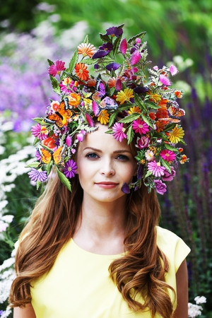 Aoife Walsh wears Carol Kennelly's head piece inspired by Diarmuid Gavin's Garden of Pure Imagination