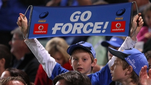 A young fan shows his support for Western Force