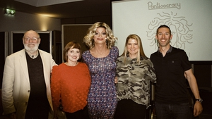 Life's Little Nudges: Panti (centre) with her guests (L to R) Dermot Bolger, Julie Feeney, Jenny Huston and Shane Hegarty.