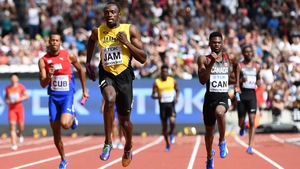 Usain Bolt (C) is hunting one last gold medal