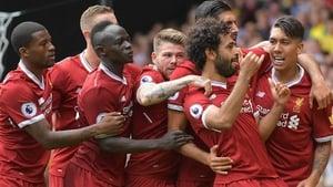Liverpool celebrate Mo Salah's goal