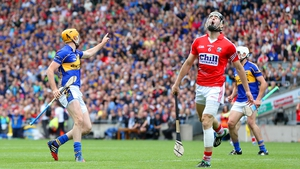 Seamus Callanan celebrating after scoring against Cork in the 2014 All-Ireland semi-final