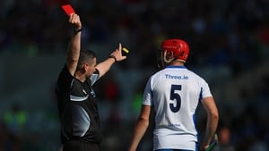 Fergal Horgan showing Tadhg De Burca a red card during Waterford's All-Ireland quarter-final win over Wexford