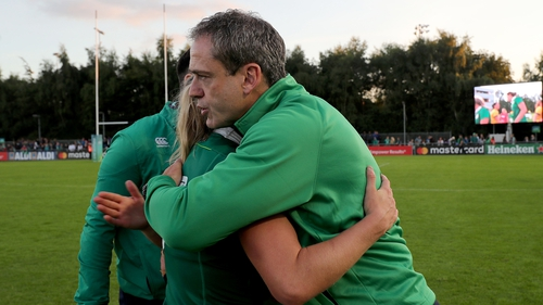 Tom Tierney embraces captain Claire Molloy after Wednesday's win over Australia