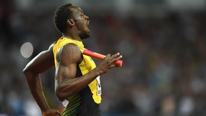 Bolt pulled up on his anchor leg of the 4x100 metres
