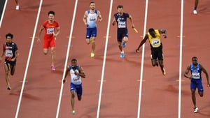 Usain Bolt pulls up in the men's 4x10mm relay