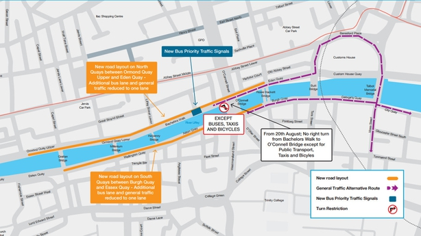 Cars to be reduced to one lane on Dublin's quays