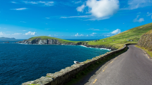 Single Track Coast Road at Slea Head in Ireland.