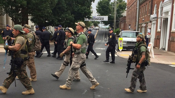 Armed citizen militia on the march in Charlotttesville last Saturday. Photo: EPA/Virginia State Police