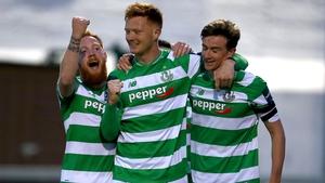 Ronan Finn celebrates his goal with team-mates