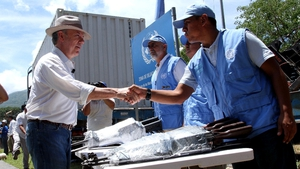 President Santos (L) was on hand to witness the last of the FARC's weapons delivered to the UN Mission in Colombia