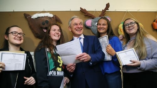 Richard Bruton with (from left) Nadia Corrigan, Sarah Farrelly, Aisling Williams and Faye Donnelly at Maryfield College, Drumcondra
