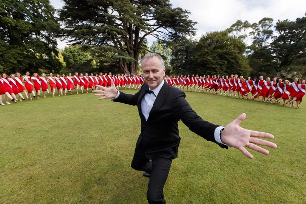 Dáithí with the 64 Rose of Tralee contestants