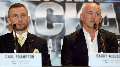 Carl Frampton (L) with Barry McGuigan ahead of the ultimately cancelled Andres Gutierrez fight