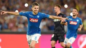 Jorginho celebrates after scoring for Napoli