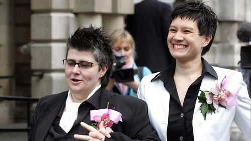 Shannon Sickles (right) and Grainne Close outside Belfast City Hall after their civil partnership ceremony in 2005