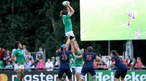 Ireland's Marie Louise Reilly wins a line out