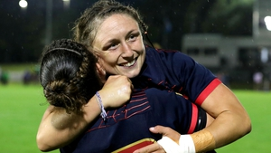 Carla Neisen and Gaelle Mignot of France celebrate a 21-5 victory