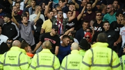 Hadjuk Split fans were restrained by stewards after Everton's opener