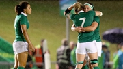 Ireland's Sene Naoupu, Claire Molloy and Lindsay Peat after the game