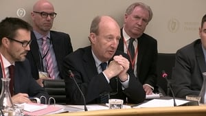 Minister Shane Ross appearing before the Oireachtas committee this morning