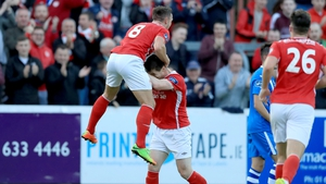 St. Patrick's Athletic's Graham Kelly celebrates scoring the first goal of the game with Michael Barker