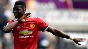 Paul Pogba was on the scoresheet at the Liberty Stadium