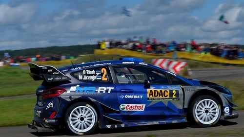 Ott Tanak and Martin Jarveoja in their M-Sport WRT Ford Fiesta WRC