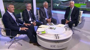The Sunday Game panel (L-R): Colm O'Rourke, Joe Brolly and Pat Spillane with Michael Lyster