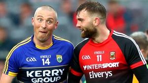 Kieran Donaghy (L) and Aidan O'Shea clashed in 2017