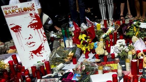 A memorial on Las Ramblas following the attack. Photo: EPA/Quique Garcia