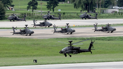 An Apache helicopter takes off for the Ulchi Freedom Guardian exercise