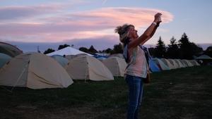 Suzanne Rapley of Santa Barbara, California is in Madras, Oregon to view the eclipse