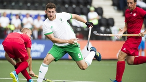 Ireland's Matthew Bell in action against Poland during the EuroHockey Championships this afternoon