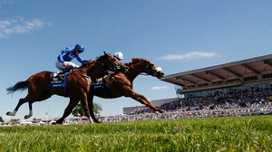 Jim Crowley riding Ulysses (R) won The Coral-Eclipse from Barney Roy and James Doyle (2R