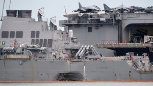 Warship sustained damage in collision with a tanker off Singapore