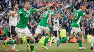 Shane Duffy reacts to his disallowed goal against Austria in June